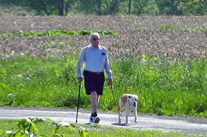 man walking with dog